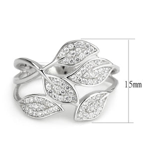 TS618 - Rhodium 925 Sterling Silver Ring with AAA Grade CZ  in Clear