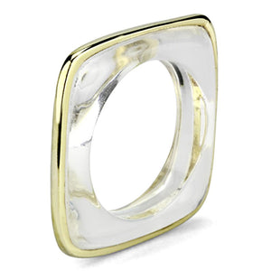VL081 - IP Gold(Ion Plating) Brass Ring with Synthetic Synthetic Stone in Clear