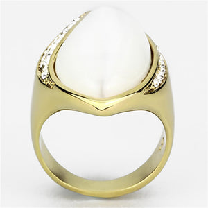 VL082 - IP Gold(Ion Plating) Brass Ring with Synthetic Cat Eye in White