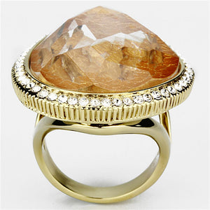 VL083 - IP Gold(Ion Plating) Brass Ring with Synthetic Synthetic Stone in Orange