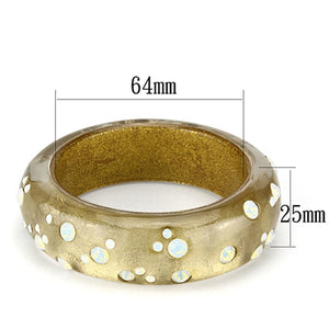 VL091 -  Resin Bangle with Top Grade Crystal  in Aurora Borealis (Rainbow Effect)