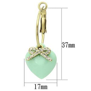 VL101 - IP Gold(Ion Plating) Brass Earrings with Synthetic Synthetic Stone in Emerald