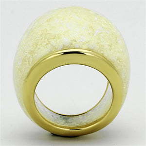 VL109 - IP Gold(Ion Plating) Stainless Steel Ring with Synthetic Synthetic Stone in Citrine Yellow