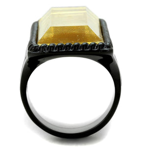 VL118 - IP Black(Ion Plating) Stainless Steel Ring with Synthetic Synthetic Stone in Citrine Yellow