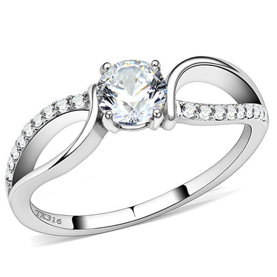 DA004 - High polished (no plating) Stainless Steel Ring with AAA Grade CZ  in Clear