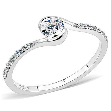 DA007 - High polished (no plating) Stainless Steel Ring with AAA Grade CZ  in Clear