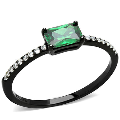 DA010 - IP Black(Ion Plating) Stainless Steel Ring with AAA Grade CZ  in Emerald