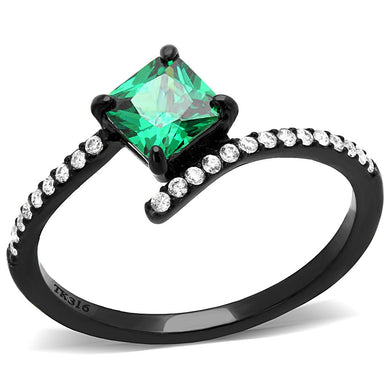 DA017 - IP Black(Ion Plating) Stainless Steel Ring with AAA Grade CZ  in Emerald