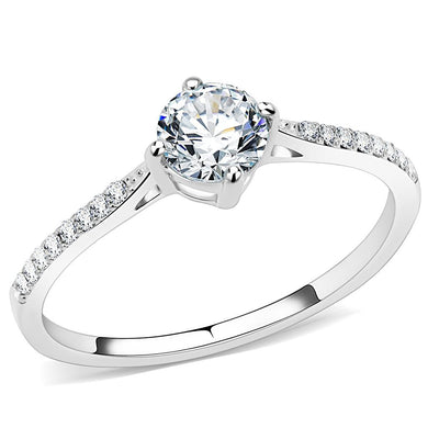 DA018 - High polished (no plating) Stainless Steel Ring with AAA Grade CZ  in Clear