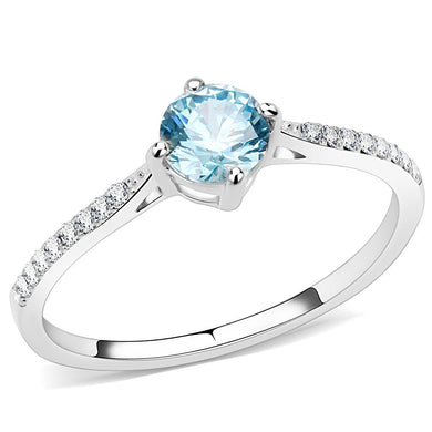 DA019 - High polished (no plating) Stainless Steel Ring with AAA Grade CZ  in Sea Blue