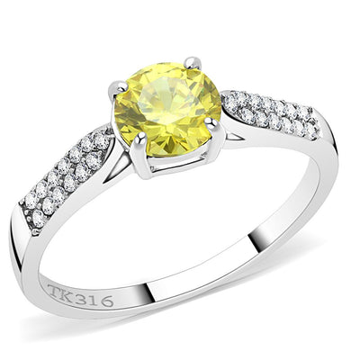 DA021 - High polished (no plating) Stainless Steel Ring with AAA Grade CZ  in Topaz