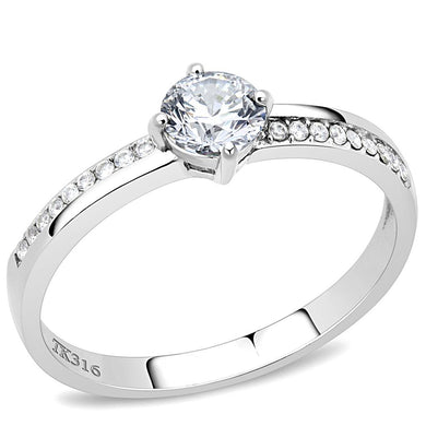 DA025 - High polished (no plating) Stainless Steel Ring with AAA Grade CZ  in Clear