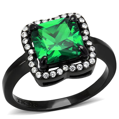 DA029 - IP Black(Ion Plating) Stainless Steel Ring with AAA Grade CZ  in Emerald