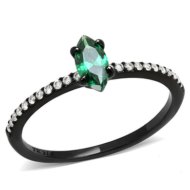 DA033 - IP Black(Ion Plating) Stainless Steel Ring with AAA Grade CZ  in Emerald