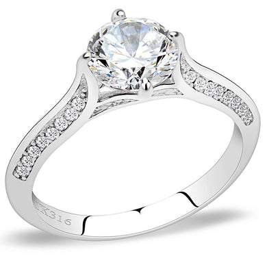 DA036 - High polished (no plating) Stainless Steel Ring with AAA Grade CZ  in Clear