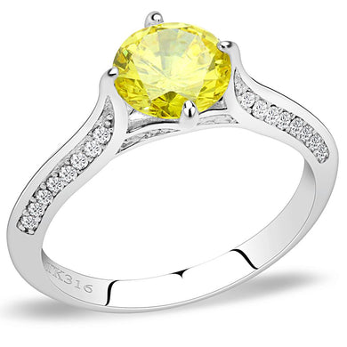 DA037 - High polished (no plating) Stainless Steel Ring with AAA Grade CZ  in Topaz