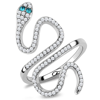 DA051 - High polished (no plating) Stainless Steel Ring with Top Grade Crystal  in Blue Zircon