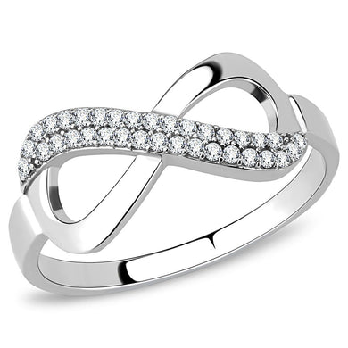 DA054 - High polished (no plating) Stainless Steel Ring with AAA Grade CZ  in Clear