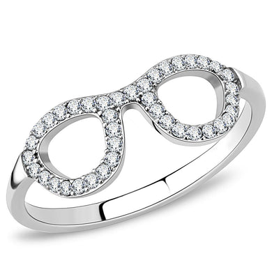 DA055 - High polished (no plating) Stainless Steel Ring with AAA Grade CZ  in Clear
