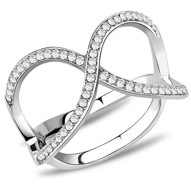 DA058 - High polished (no plating) Stainless Steel Ring with AAA Grade CZ  in Clear