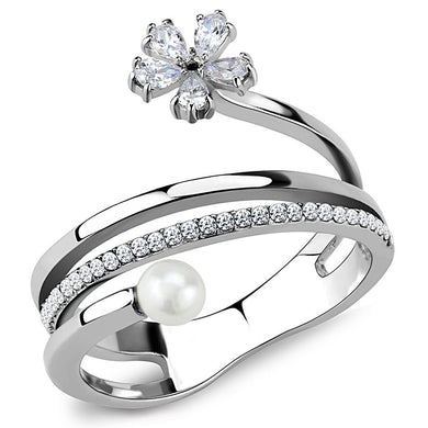 DA059 - High polished (no plating) Stainless Steel Ring with Synthetic Pearl in White