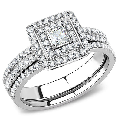 DA064 - High polished (no plating) Stainless Steel Ring with AAA Grade CZ  in Clear