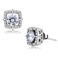 Load image into Gallery viewer, DA070 - High polished (no plating) Stainless Steel Earrings with AAA Grade CZ  in Clear
