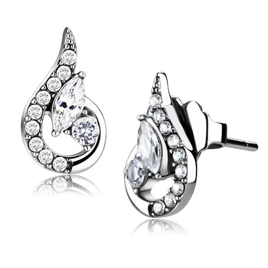 DA074 - High polished (no plating) Stainless Steel Earrings with AAA Grade CZ  in Clear
