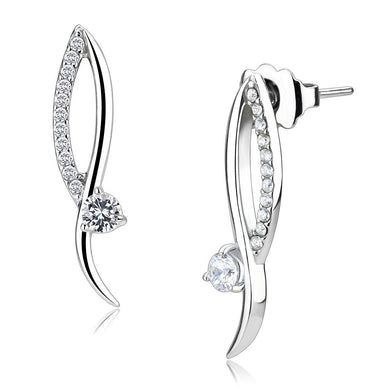 DA080 - High polished (no plating) Stainless Steel Earrings with AAA Grade CZ  in Clear