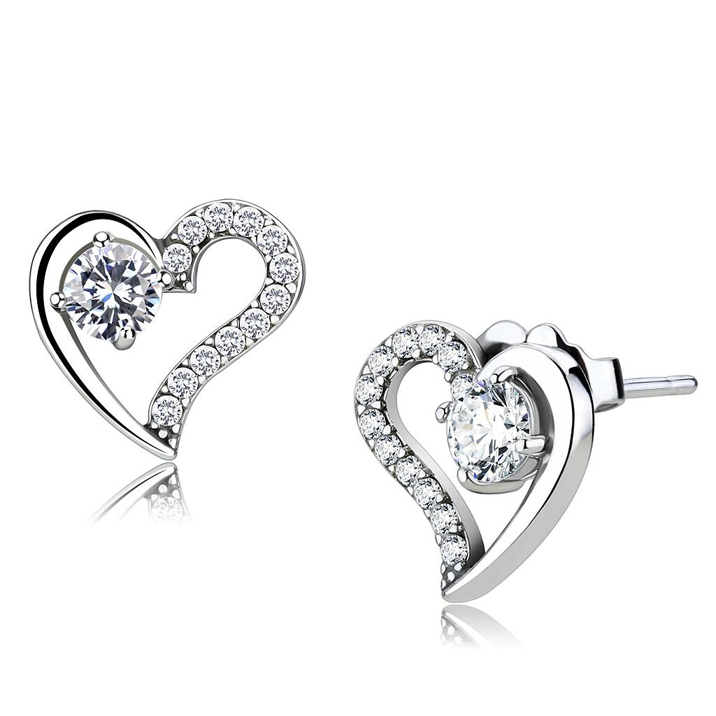DA083 - High polished (no plating) Stainless Steel Earrings with AAA Grade CZ  in Clear