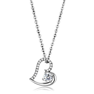 DA084 - High polished (no plating) Stainless Steel Chain Pendant with AAA Grade CZ  in Clear