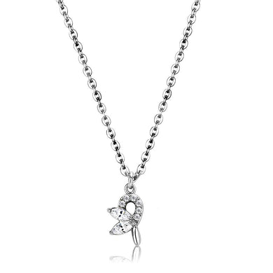 DA088 - High polished (no plating) Stainless Steel Chain Pendant with AAA Grade CZ  in Clear