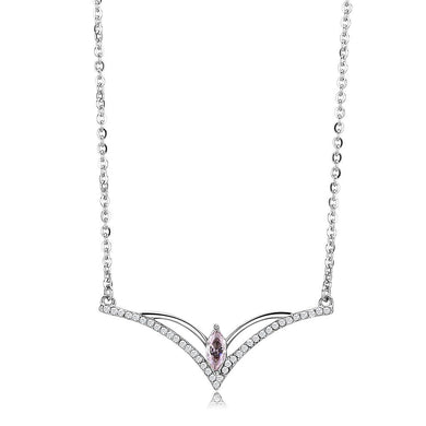 DA094 - High polished (no plating) Stainless Steel Chain Pendant with AAA Grade CZ  in Light Rose