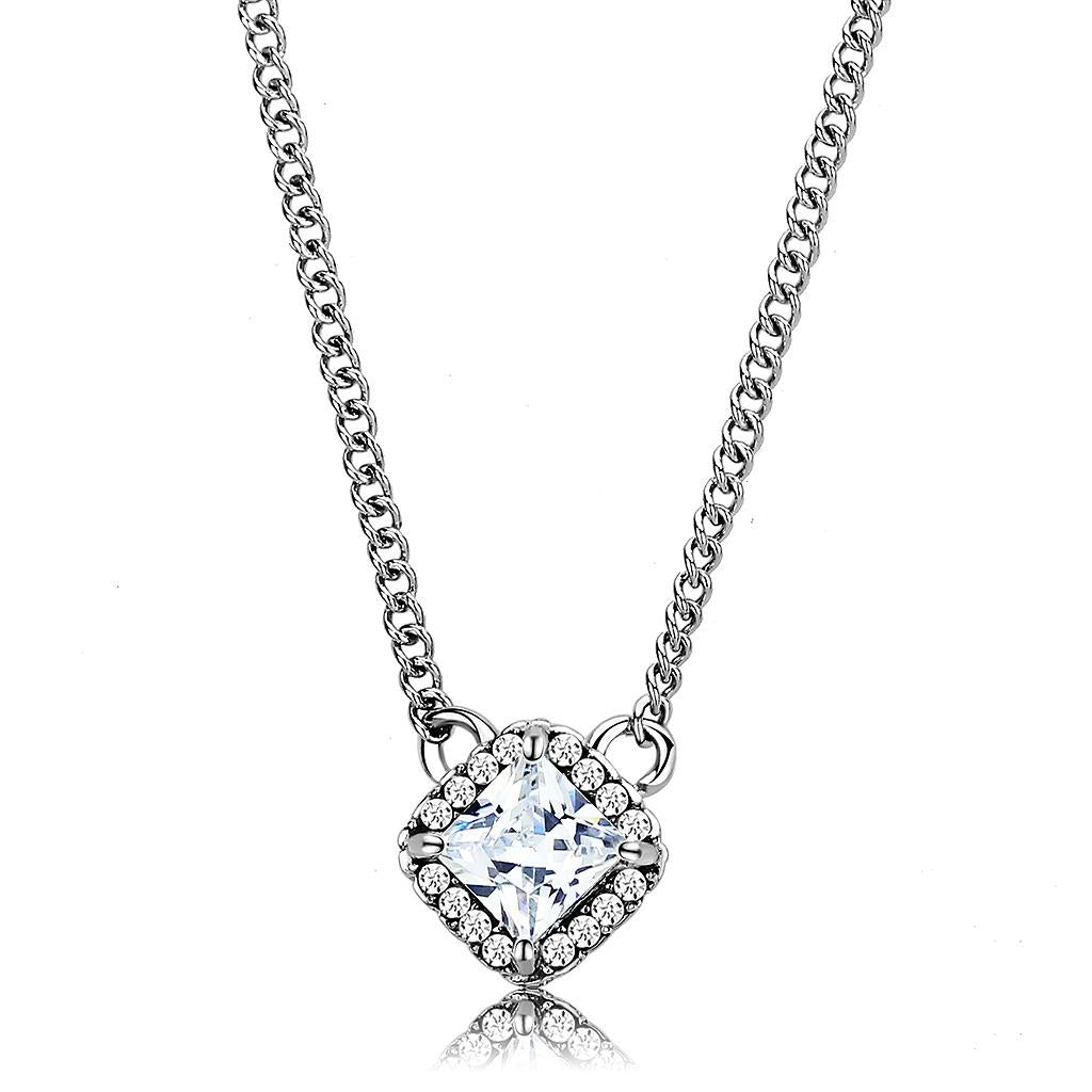 DA096 - High polished (no plating) Stainless Steel Chain Pendant with AAA Grade CZ  in Clear