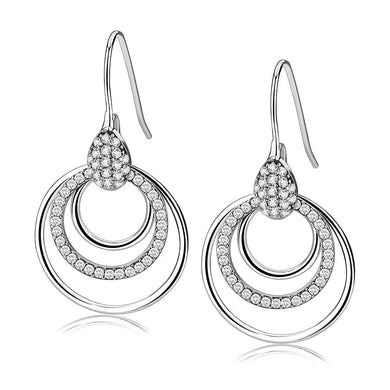 DA099 - High polished (no plating) Stainless Steel Earrings with AAA Grade CZ  in Clear