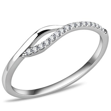 DA113 - High polished (no plating) Stainless Steel Ring with AAA Grade CZ  in Clear