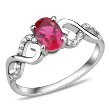 Load image into Gallery viewer, DA119 - High polished (no plating) Stainless Steel Ring with AAA Grade CZ  in Ruby