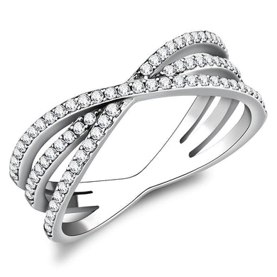 DA124 - High polished (no plating) Stainless Steel Ring with AAA Grade CZ  in Clear