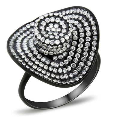 DA128 - IP Black(Ion Plating) Stainless Steel Ring with AAA Grade CZ  in Clear