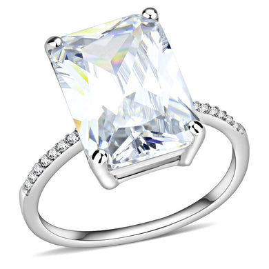 DA131 - High polished (no plating) Stainless Steel Ring with AAA Grade CZ  in Clear