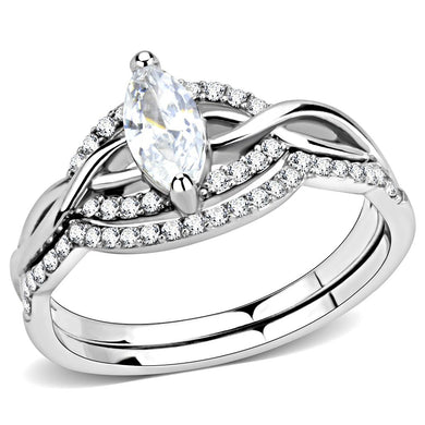 DA133 - High polished (no plating) Stainless Steel Ring with AAA Grade CZ  in Clear