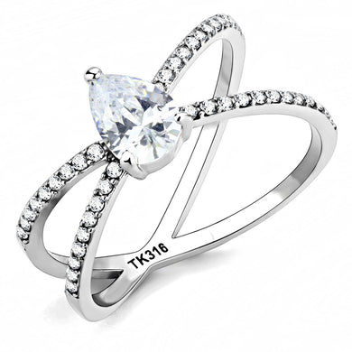 DA135 - High polished (no plating) Stainless Steel Ring with AAA Grade CZ  in Clear