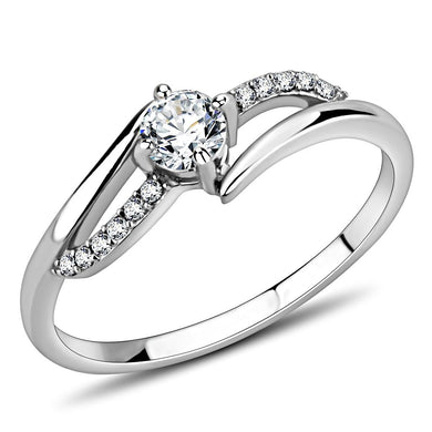 DA144 - High polished (no plating) Stainless Steel Ring with AAA Grade CZ  in Clear