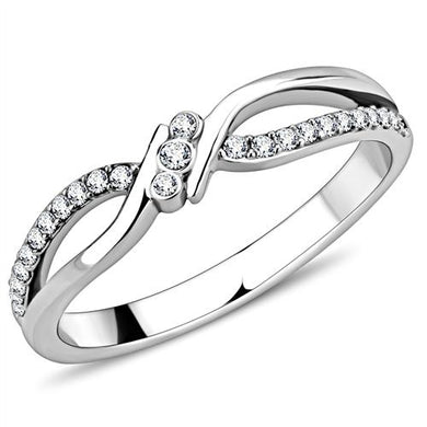 DA156 - High polished (no plating) Stainless Steel Ring with AAA Grade CZ  in Clear