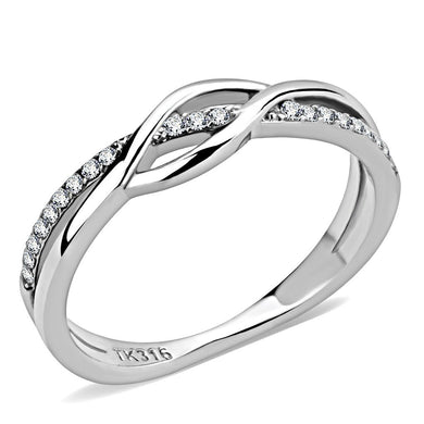 DA157 - High polished (no plating) Stainless Steel Ring with AAA Grade CZ  in Clear