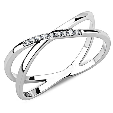 DA158 - High polished (no plating) Stainless Steel Ring with AAA Grade CZ  in Clear