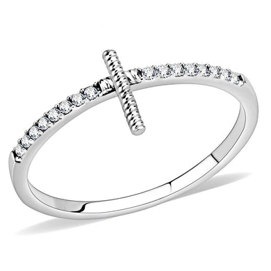 DA161 - High polished (no plating) Stainless Steel Ring with AAA Grade CZ  in Clear