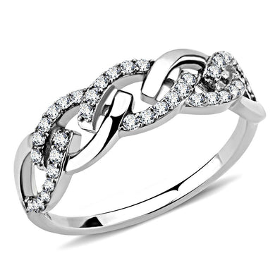 DA163 - High polished (no plating) Stainless Steel Ring with AAA Grade CZ  in Clear