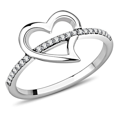 DA164 - High polished (no plating) Stainless Steel Ring with AAA Grade CZ  in Clear