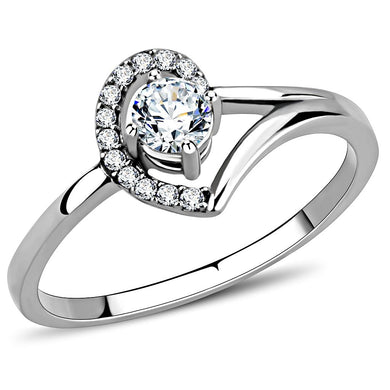 DA165 - High polished (no plating) Stainless Steel Ring with AAA Grade CZ  in Clear